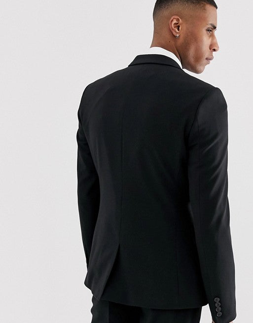 FOS DESIGN super skinny suit jacket in black