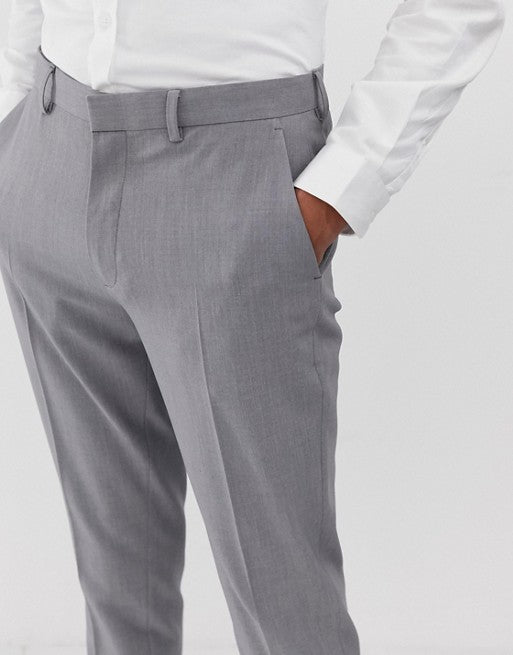 FOS DESIGN super skinny suit trousers in mid grey