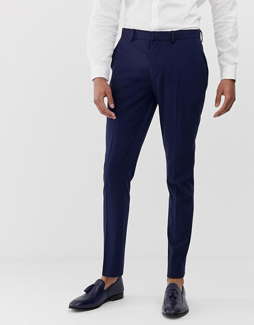 FOS DESIGN super skinny suit trousers in navy