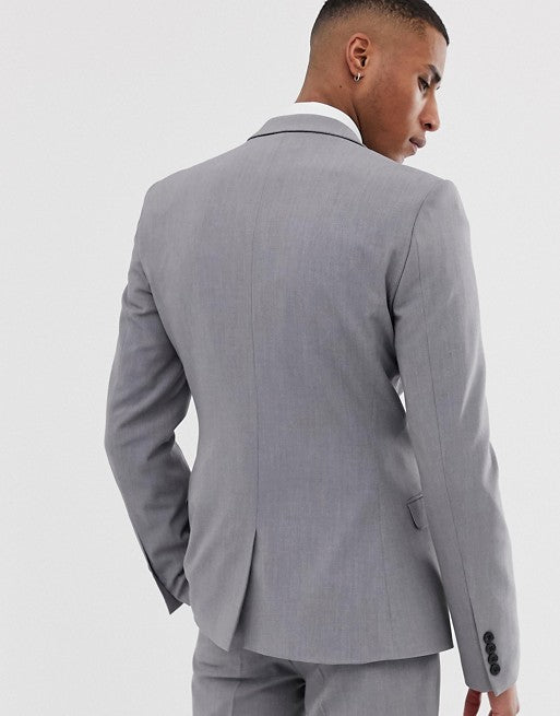 FOS DESIGN super skinny suit jacket in mid grey
