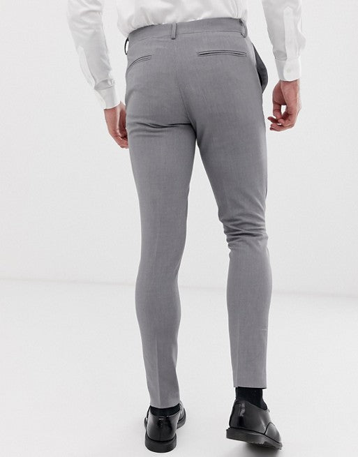FOS DESIGN 2 pack super skinny smart trousers in black and grey SAVE