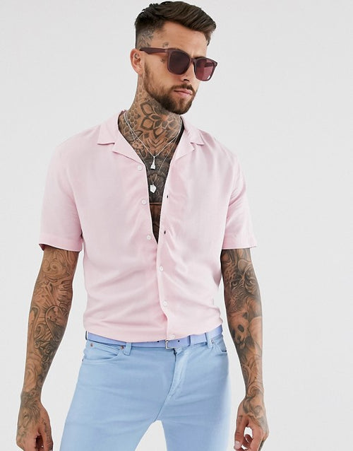 FOS DESIGN regular fit viscose shirt in pink