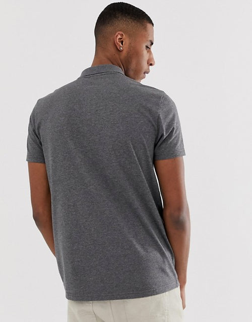 short sleeve jersey polo Charcoal marl