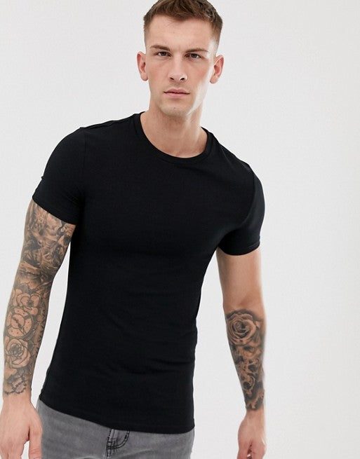 organic muscle fit crew neck t-shirt with stretch in black