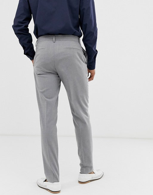 FOS DESIGN skinny smart trousers in grey