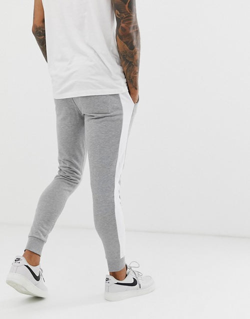 FOS DESIGN skinny joggers with side stripe in grey marl