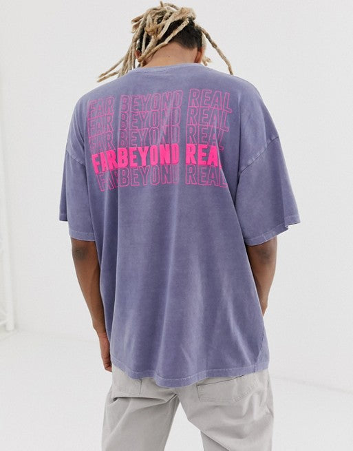 organic cotton oversized t-shirt with bleach wash and neon text print