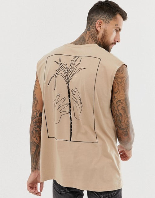 oversized tank with back hand and palm tree print
