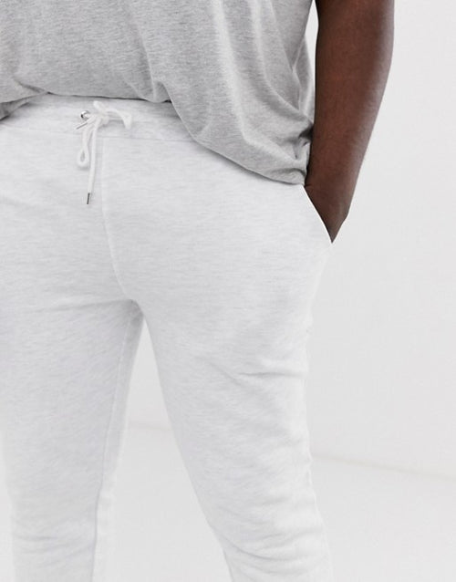 FOSDESIGN Plus skinny joggers in white marl