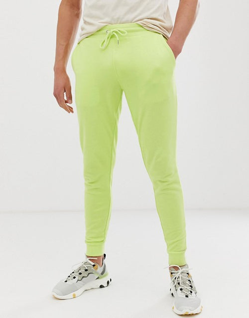 FOS DESIGN skinny joggers in pale lime