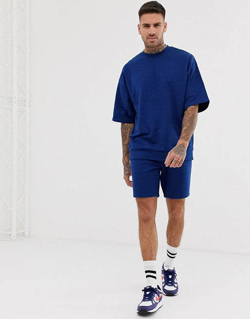 FOS DESIGN tracksuit short sleeve oversized sweatshirt/skinny short in bright navy