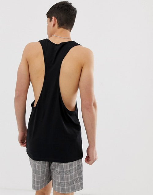 organic vest with extreme racer back in black