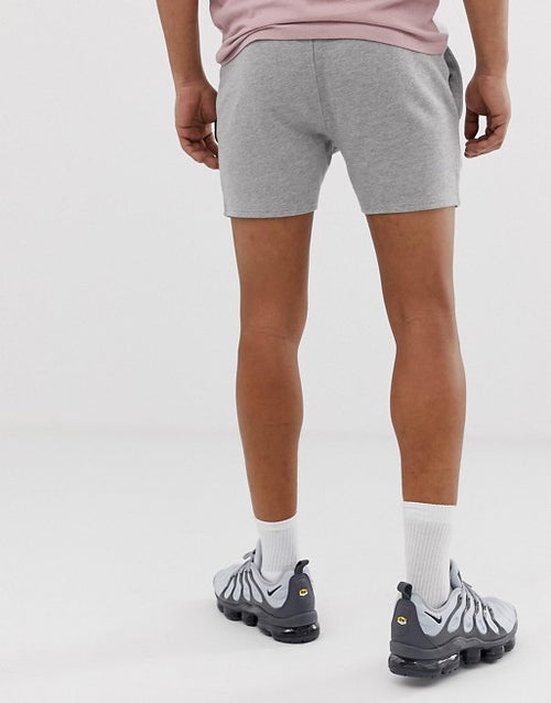 FOS DESIGN jersey skinny shorts in shorter length in grey marl