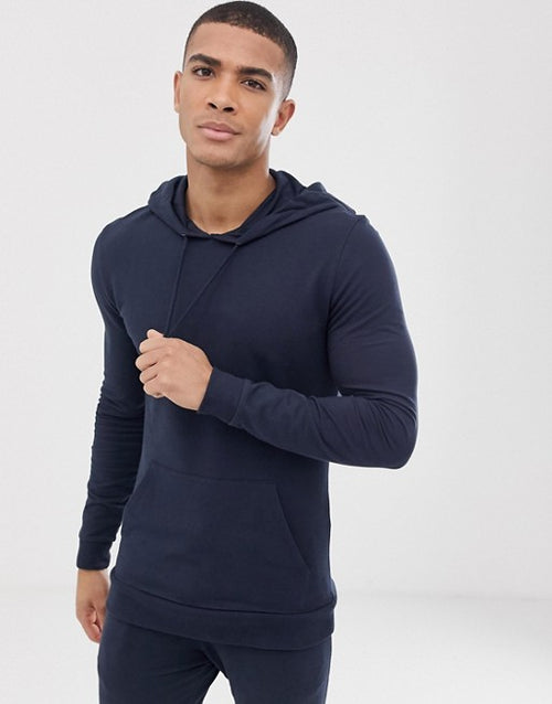 FOS DESIGN tracksuit extreme super skinny joggers/muscle hoodie in navy