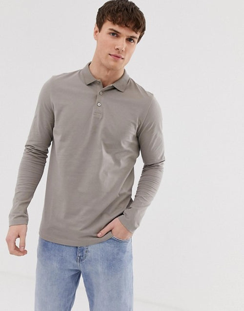 FOS DESIGN long sleeve jersey polo in beige