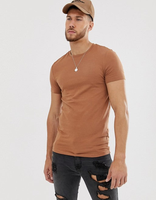 organic muscle fit with stretch t-shirt with crew neck in brown