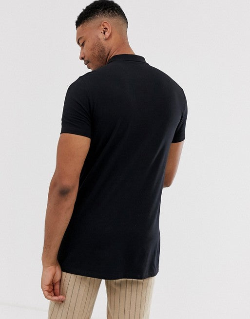 Tall longline jersey polo in black