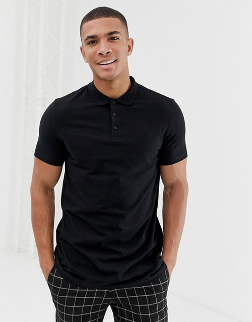 FOS DESIGN longline jersey polo in black