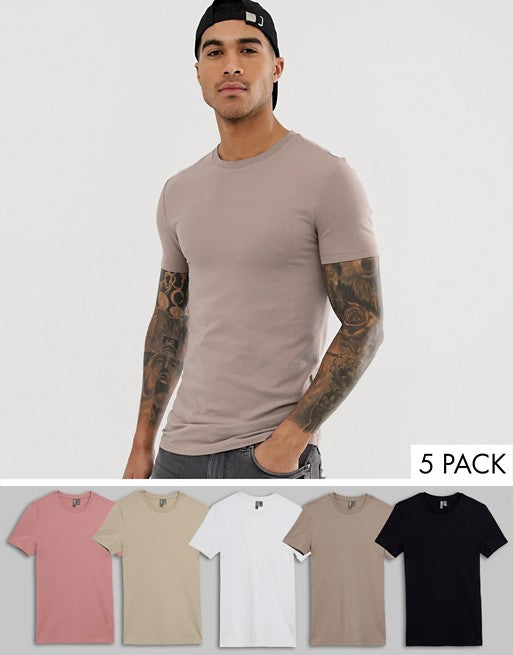 organic muscle fit with stretch t-shirt with crew neck 5 pack multipack saving