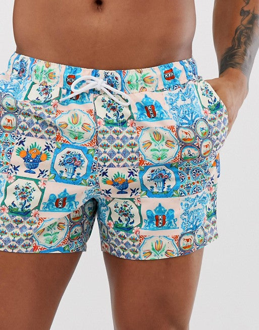 FOS DESIGN co-ord swim shorts in retro tile print super short length