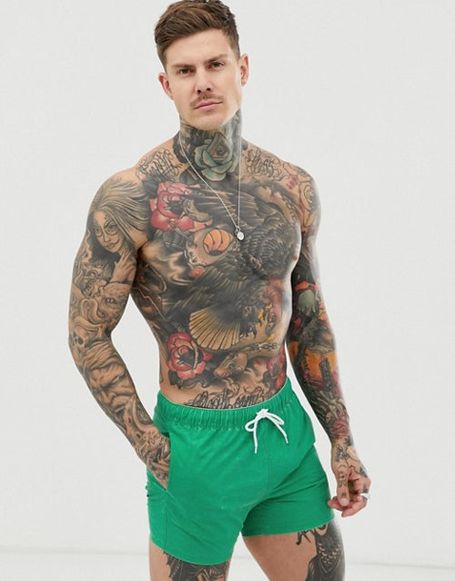 FOS DESIGN swim shorts with green acid wash in short length