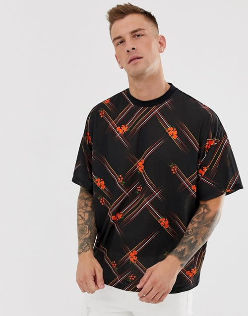 oversized t-shirt with diagonal check and floral print