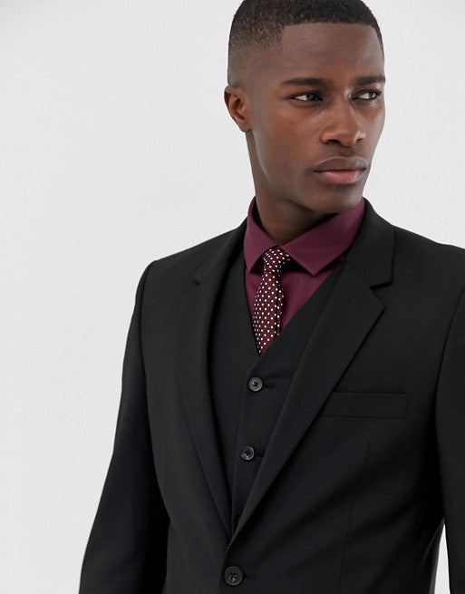 FOS DESIGN slim suit jacket in black