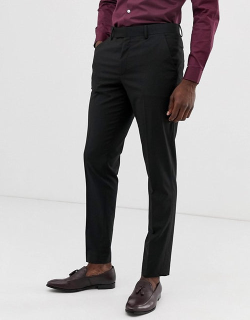 FOS DESIGN slim suit trousers in black