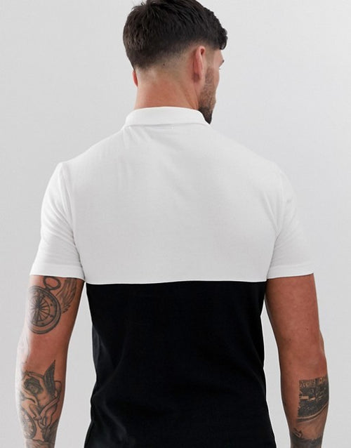 organic polo shirt with contrast yoke in black