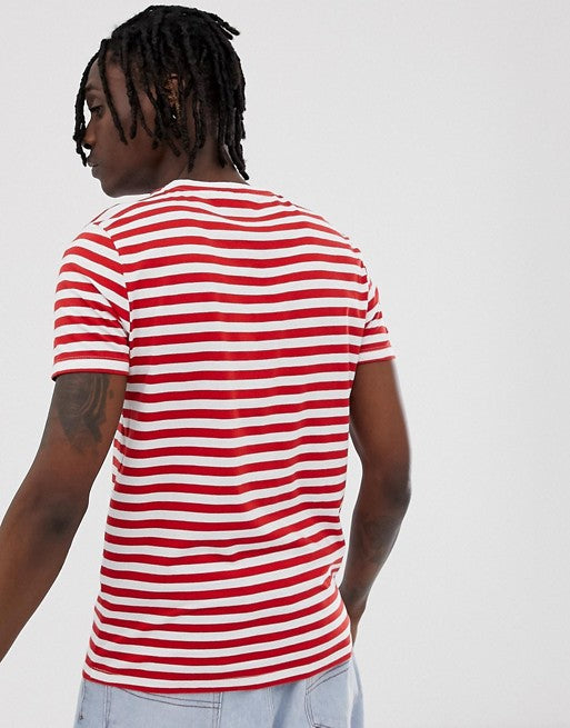 organic cotton stripe t-shirt in red and white
