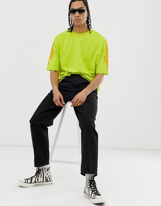 organic cotton oversized t-shirt in neon with sleeve print