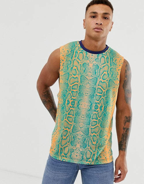 elaxed sleeveless t-shirt with dropped armhole in snake with back print