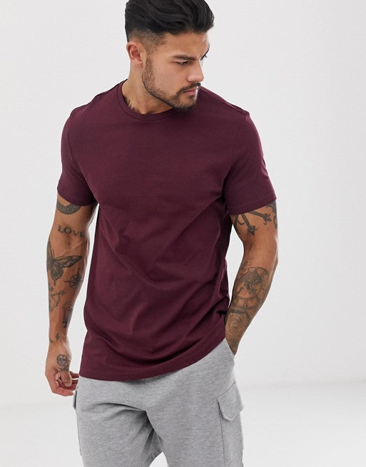 organic t-shirt with crew neck in burgundy