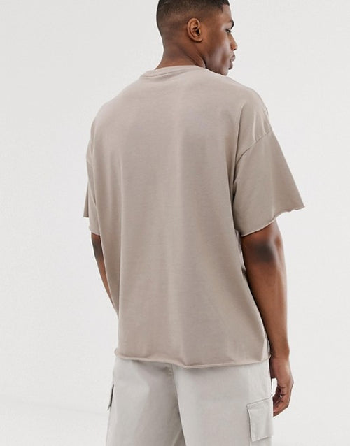 organic heavyweight oversized fit t-shirt with crew neck and raw edges in beige