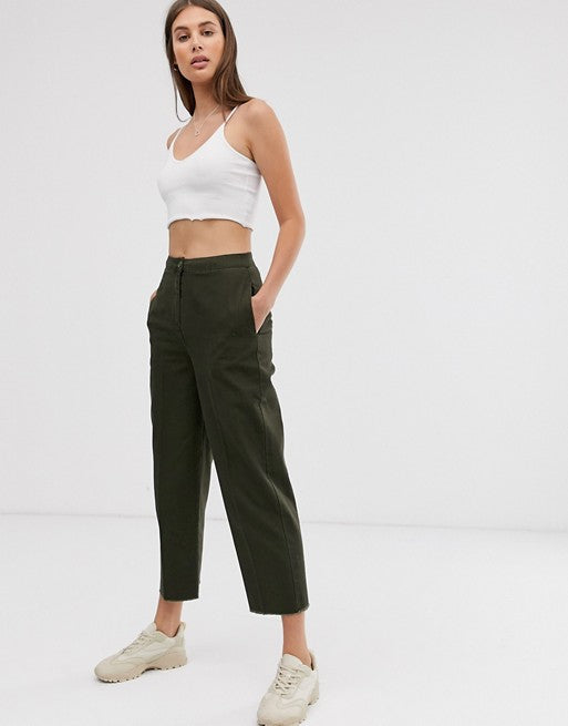 FOS DESIGN casual trouser with straight leg and raw hem