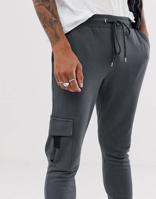 FOS DESIGN skinny joggers with cargo pocket in washed black