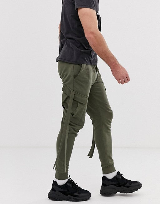 FOS DESIGN skinny joggers with cargo pockets and strapping in khaki