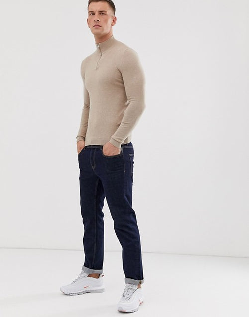 FOS DESIGN cotton half zip jumper in tan