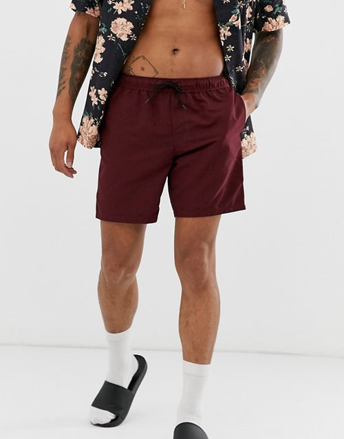 FOS DESIGN swim shorts in burgundy mid length