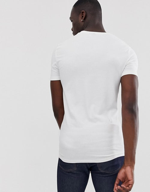 Tall organic muscle fit with stretch t-shirt with square neck in white
