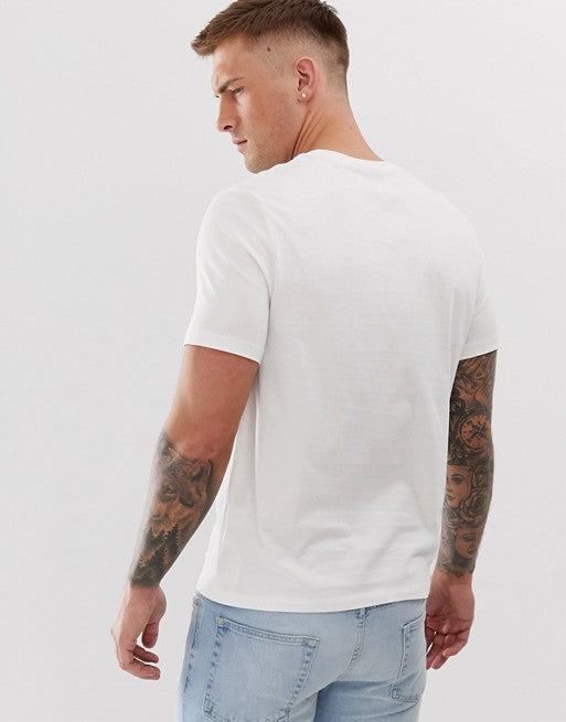organic t-shirt with square neck in off white