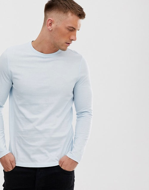 organic long sleeve t-shirt in blue