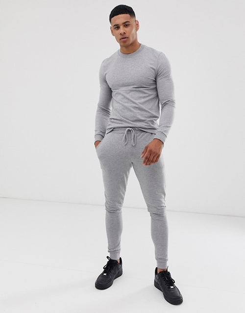 FOS DESIGN muscle tracksuit in grey marl