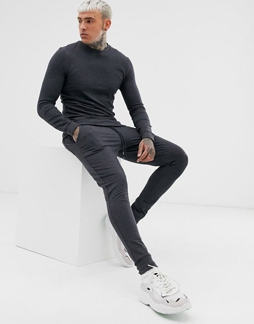 FOS DESIGN muscle tracksuit in charcoa