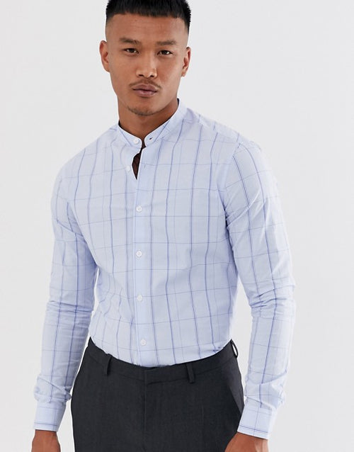 FOS DESIGN skinny fit check shirt in blue