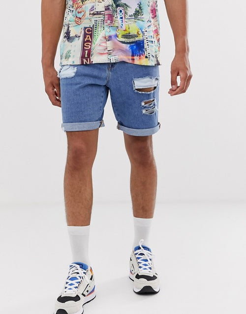 FOS DESIGN denim shorts in mid wash blue with rips