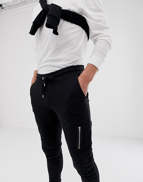 FOS DESIGN skinny joggers with MA1 pocket in black