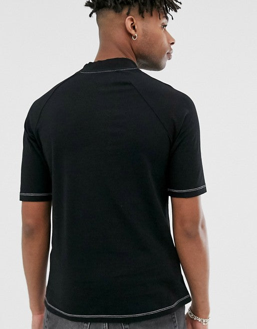 raglan t-shirt with turtle neck and contrast stitching in black