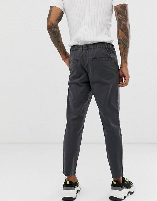 FOS DESIGN cigarette chinos with pleats in washed black