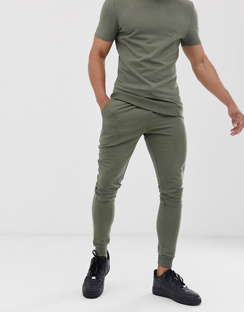 FOS DESIGN muscle tracksuit with short sleeves in khaki